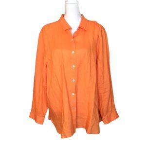 J. Jill bright orange linen shirt